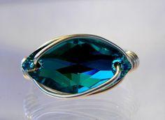 Sterling Silver Swarovski Blue Zircon Crystal Navette Ring
