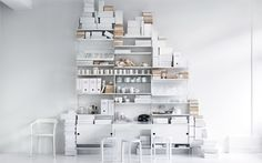 The stylish String Shelf System white was designed by Nisse Strinning for the manufacturing label String.Strinning originally designed the shelf system in 1949 Shelving Solutions, Shelving Systems, Oak Shelves, Storage Shelves, Mounted Shelves, Shopping Interior, Office Wall Organization, Scandinavian Shelves, Scandinavian Design