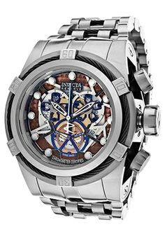 Invicta 13755 Watches,Men's Bolt Chronograph Multicolored Skeletonized Dial Stainless Steel, Men's Invicta Quartz Watches