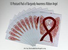 Multiple Myeloma Burgundy Awareness Ribbon Guardian Angel Art by AwarenessGallery