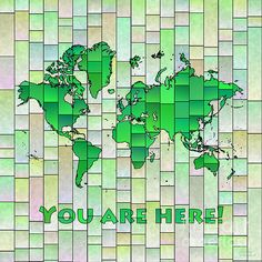 World Map Glasa Square in Green and Yellow with 'You Are Here' text by elevencorners. World map art wall print decor. #elevencorners #mapglasa