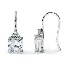 Divine 4 Carat Princess Cut Simulated Diamond Crystal Solid 925 Sterling Silver Dangle Earrings