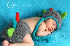 Custom Dino Hat & Diaper Cover Set by OnHeathersHook on Etsy, $44.00