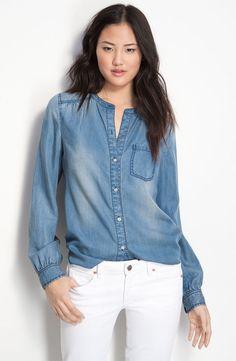 Trouvé Pocket Front Chambray Denim Jean Shirt - Trouve