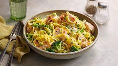Salmon and broccoli pasta recipe - BBC Food Salmon And Broccoli Pasta, Brocolli Recipes, Quick Salmon Recipes, Salmon Pasta Recipes, Fish Recipes, Veggie Recipes, Chicken Recipes, Recipies, Recipes