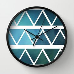 Blue Wall Clock - Blue and White Art Triangles - Choice of Frame Color - Unusual Clock - Made to Order (60.00 USD) by ShelleysCrochetOle