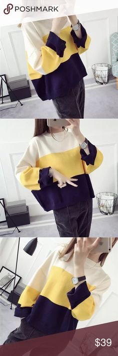 """Color block knit sweater. Material: acrylic and cotton blended Measurement: length-19-30"""", bust: 47"""" around, sleeve length-15.5"""", shoulder to shoulder- 26-27"""" Sweaters"""