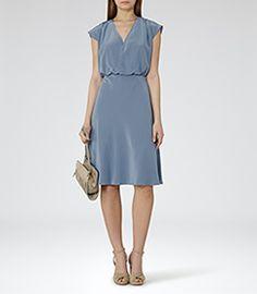 Cedar Cornflower Blue V-neck Dress - REISS