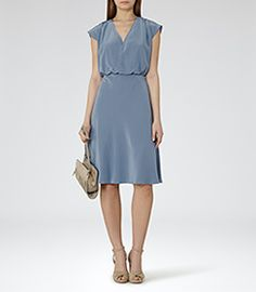 Cedar Cornflower Blue V-neck Dress - REISS