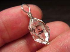 ハーキマーダイヤモンド ハーキマー水晶 ペンダント ワイヤー ネックレス クリスタル 単結晶 ポイント 原石 天然石 パワーストーン