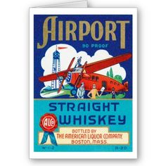 Airport Aviation Whiskey Art Cards by caferetro.
