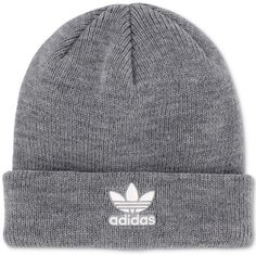 d31e75ff63e623 adidas Originals Trefoil Knit Beanie ($20) ❤ liked on Polyvore featuring  accessories, hats, heather grey, knit hat, adidas hat, knit beanie caps, ...