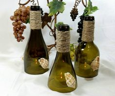 SALE Recycled Wine Bottle Hurricane Toppers by VinoCandleCellars