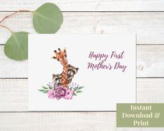 First Mother's Day Card, Printable 1st Mothers Day Card with Giraffe and Raccoons, Digital Download Birthday Cards For Boys, Happy Birthday, Printable Cards, Printables, First Mothers Day, Raccoons, First Birthdays, Giraffe, Card Stock