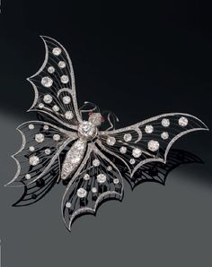 Antique Diamond Butterfly Brooch-c1900