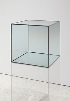 skt4ng:  larry bell, untitled, c. 1980coated glass and chrome frame, 181/8 x 181/8 x 181/8 in.
