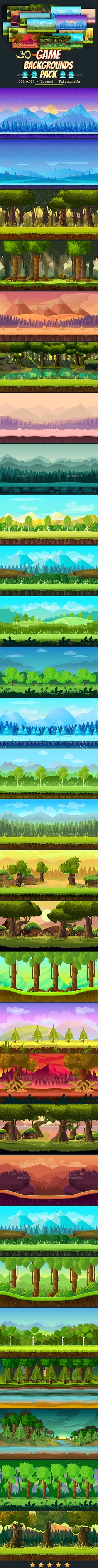30+ Game Backgrounds Pack 2 EPS AI #parallax #vector • Download ➝ https://graphicriver.net/item/30-game-backgrounds-pack-2/18281323?ref=pxcr