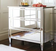I like mirrored furniture. Not sure if Dan will. Comes in dresser, nightstand, desk. Where could we use it?