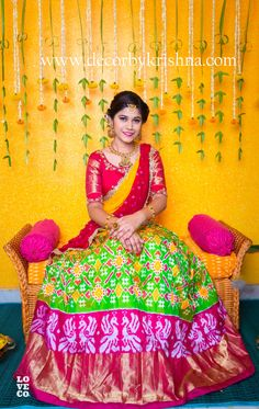 Traditional decor goes well with traditional dressing by - Modern Lehenga Designs, Lehenga Saree Design, Half Saree Lehenga, Half Saree Designs, Bridal Blouse Designs, Lehnga Dress, Lehenga Skirt, Kids Lehenga, Saree Blouse