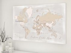 Custom quote world map canvas print - rustic world map with countries and states labelled. Color combination: Lucille  Personalized world map canvas print, in this rustic and vintage-inspired color combination, featuring your favorite quote. We can also add, in the left lower corner, a couple names, a baby name, family name + est. date...   Travel lovers idea: you can use this piece as travel pinboard or push pin travel map, displaying the places you've been to with needle push pins.