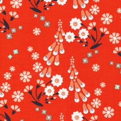 150307 Foxgloves | Orange Quilter's Cotton from Foxglove by Aneela Hoey for Cloud9 Fabrics