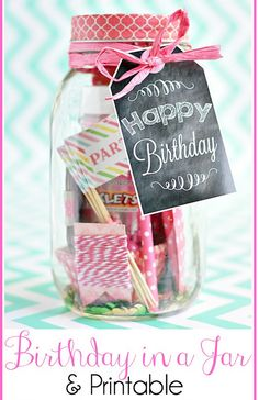 DIY Birthday in a Jar with Printable Chalkboard Tag