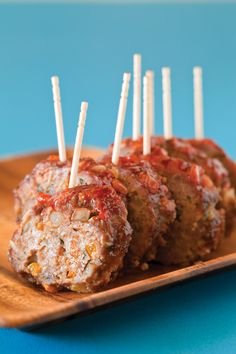 Tiny food party's are great for baby showers.  Let the complements roll. Tiny Meatloaf On a Stick plus 7 other miniaturized appetizers