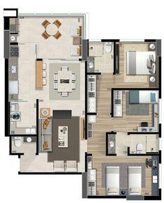 Apartamento com uma suite, duas demi-suites, estar e jantar integradas, lavabo, área de serviço, cozinha e varanda gourmet! #arquitetura…