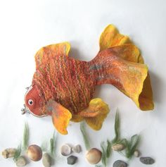 Felted fish purse cosmetic Golden  Fish  Yellow Red by galafilc,