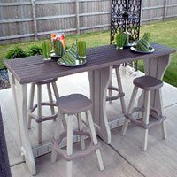 """Leisure Accents Doublewide Patio Bar Set by Spa Depot. $299.95. Looking for a roomy patio bar? Our attractive Double-wide Patio Bar Set comes complete with 4 matching bar stools. Its a spacious 24"""" wide and comes in your choice of great top colors to complement any decor. Ideal for use in your backyard on the deck or patio. Now you can enjoy the great outdoors in style! Highest quality made from carefree resin right here in the USA. Product notes: (4) 26""""H stools inclu..."""