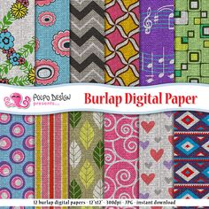 Burlap Digital Paper. Scrapbook Background, patterns for Personal & Commercial Use. Fabric textures. Instant Download. Colored seamless. by PolpoDesign on Etsy https://www.etsy.com/listing/191365587/burlap-digital-paper-scrapbook