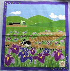 Japanese Wrapping Cloth Small Furoshiki 50x50cm Walkies Cat SweetFlag Iris Kyoto