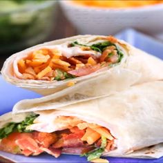 delicious and easy to make turkey ranch club wraps are the perfect take-along when heading out and about. delicious and easy to make turkey ranch club wraps are the perfect take-along when heading out and about. Turkey Wrap Recipes, Chicken Wrap Recipes, Turkey Wraps, Bbq Chicken Wraps, Healthy Dinner Recipes, Cooking Recipes, Healthy Wraps, Samosas, Wrap Sandwiches