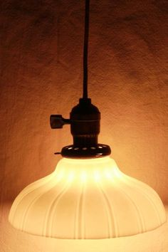 antique pendant light fixture, industrial hanging bulb socket w/ vintage milk glass shade