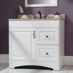 Glacier Bay, Regency 36 in. Vanity with Vanity Top in White, RESD36COM-WH at The Home Depot - Mobile