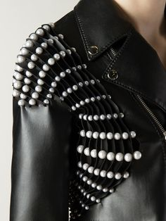 3D Embellishment - jacket with layered panels & trapped pearls for texture; sewing; fashion detail // Noir Kei Ninomiya