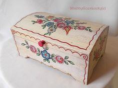 German vintage large wooden chest, box, hand painted folk art flowers