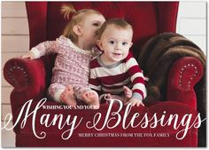 Bountiful Wish - Flat Holiday Photo Cards in White or Black | Eleanor