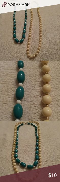 Bundle Teal & White Beads Necklaces Bundle of 2 Teal & White Beads Necklaces. Great condition! Jewelry Necklaces