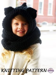 Cat Ears Hooded Cowl KNITTING PATTERN (Toddler, Kids, Teen, Adult Sizes) Cat Scarf Knitting Pattern, Animal Ears Infinity Scarf Pattern