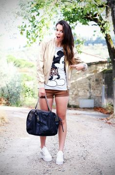 Mickey Mouse and Jeffrey Campbell  #streetstyle #outfit #look #casual #studs #bag #fashion  www.ireneccloset.com