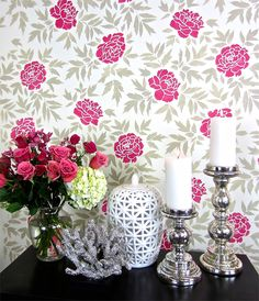 Cutting Edge Stencils shares how to stencil a floral accent wall to get a wallpaper look using the Japanese Peonies Allover Stencil. Black Accent Walls, Stone Accent Walls, Accent Wall Colors, Wall Colours, Stencil Decor, Pink Home Decor, Accent Wall Bedroom, Wall Patterns, Of Wallpaper