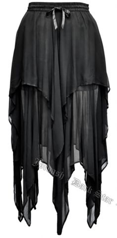 Dark Star Gothic Black Georgette Multi Tier Witchy Hem Skirt [DS/SK/304B] - $56.99 : Mystic Crypt, the most unique, hard to find items at ghoulishly great prices!
