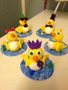 5 little ducks jumping clay style