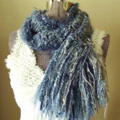 Blue Crochet Scarf Bluebird Bluejay Stormy Gray by GypsythatIwas, $36.00