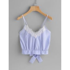 Shop Vertical Striped Split Bow Tie Back Cami Top online. SHEIN offers Vertical Striped Split Bow Tie Back Cami Top & more to fit your fashionable needs. Summer Outfits, Casual Outfits, Cute Outfits, Fashion Outfits, Womens Fashion, Mode Grunge, Diy Vetement, Mode Top, Sleeveless Crop Top
