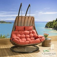 Outdoor Rattan 2 Person Garden Hanging Chair Sunbed Brown Orange Gold