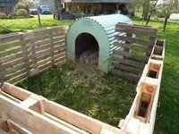 Outdoor mini pig pen made from pallets