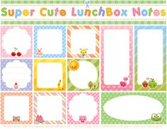 Tons of free printable lunch box notes
