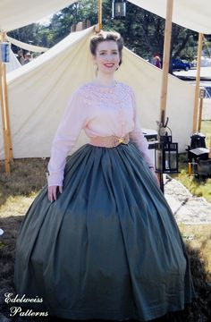 A Civil War day outfit ~ Edelweiss PatternsYou can find Civil war dress and more on our website.A Civil War day outfit ~ Edelweiss Patterns Civil War Fashion, 1800s Fashion, Victorian Fashion, Vintage Fashion, Steampunk Fashion, Vintage Outfits, Vintage Dresses, Victorian Dresses, Historical Costume